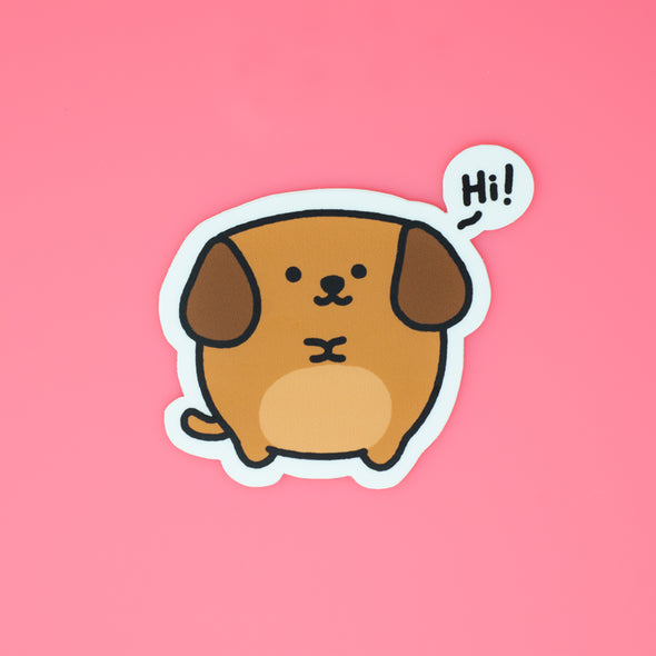 Mocha Doggo Sticker - Hi!