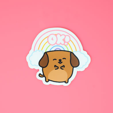 Mocha Doggo Sticker - Everything is OK!