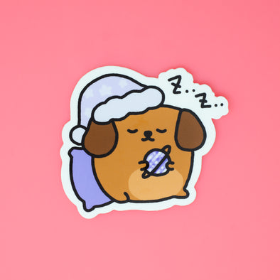 Mocha Doggo Sticker - Sleepy
