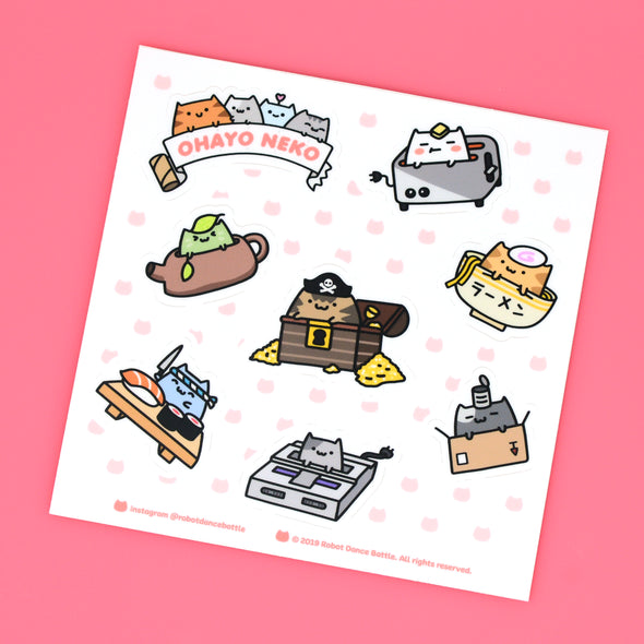 Ohayo-Neko Sticker Set