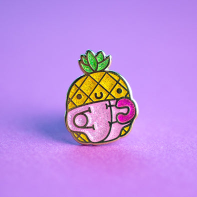 Itty Bitty Pineapple Enamel Pin PINK Glitter Edition!