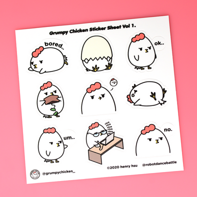 Grumpy Chicken Sticker Sheet Vol.1