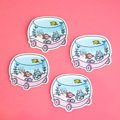 Bunny Aquarium Car Sticker