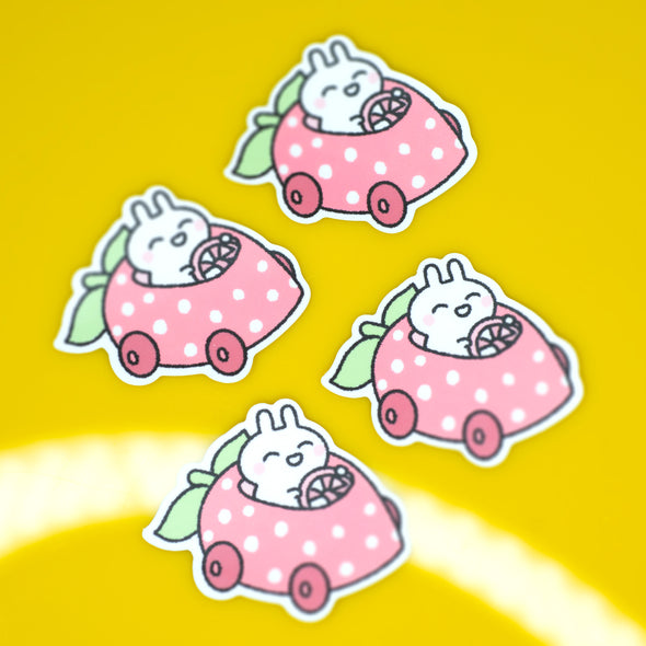 Bunny Strawberry Buggy Sticker