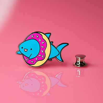 Shark Friends! – Donut Shark Enamel Pin