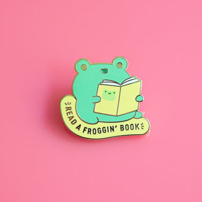 Read A Froggin' Book Enamel Pin
