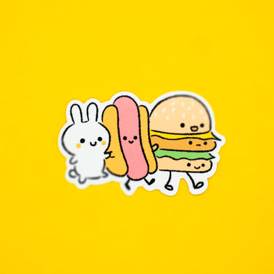 Miki With Burger and Hotdog Friends Sticker