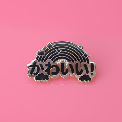 Kawaii Rainbow Enamel Pin - Noir Edition