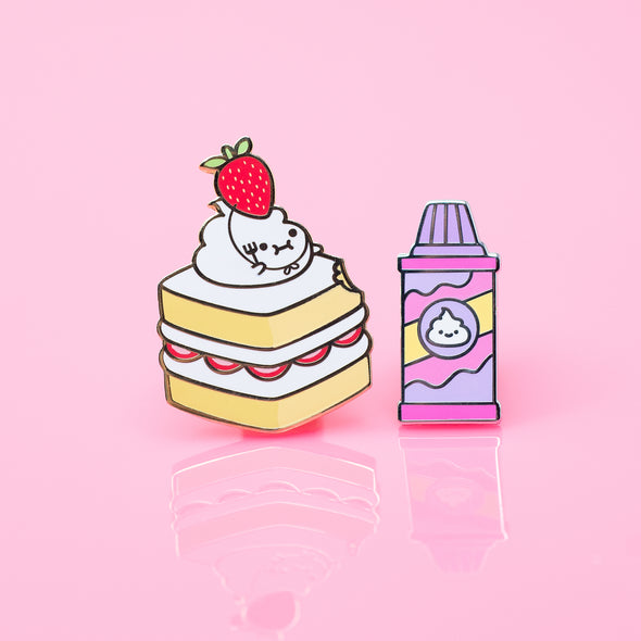Lil' Whip Strawberry Cake Enamel Pin Set
