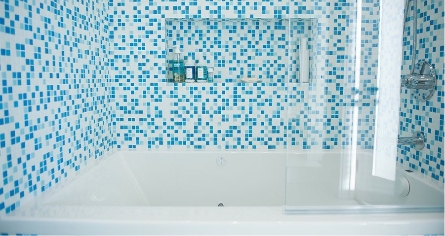 Brio Glass Mosaic Tile Shower