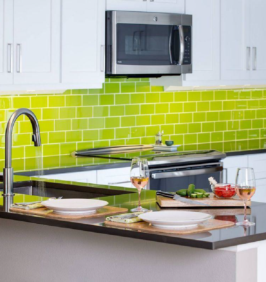 Lush Glass Subway Tile Lemon Grass Kitchen