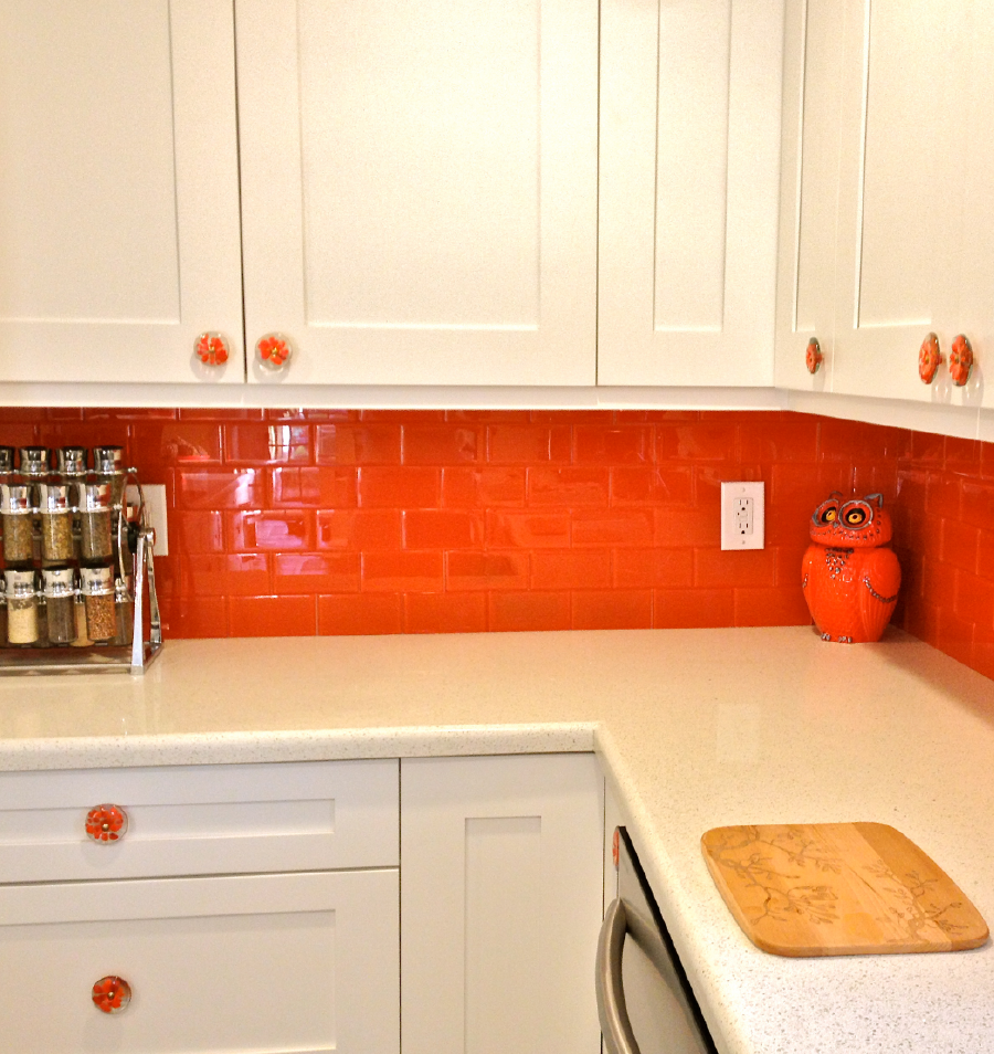 Lush Glass Subway Tile Poppy Backsplash