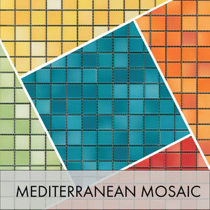 Mediterranean Mosaic Porcelain Tile - Midcentury Modern for Wall, Backsplash, Floor and Pool