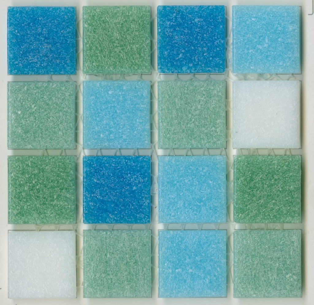 Sample of Brio Blend South Beach- Blue/Green/White Glass Mosaic Tile
