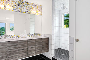 Modwalls Brio Glass Mosaic Tile | City Sunshine Blend | Modern tile for backsplashes, kitchens, bathrooms, showers, pools, outdoor and floors
