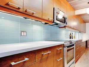 Modwalls Lush Custom Glass Subway Tile | Vapor | Modern tile for backsplashes, kitchens, bathrooms, showers