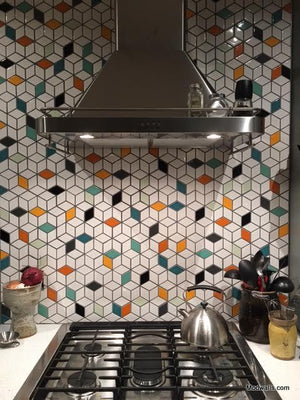 Modwalls Clayhaus Ceramic Mosaic Diamond  2 7/8 Tile | 103 Colors