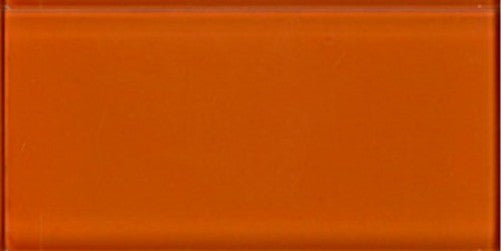 Sample of Lush Poppy - Orange 3x6 Glass Subway Tile