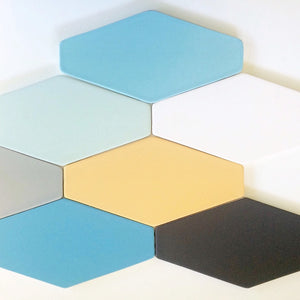 Modwalls Basis Stretch Hexagon Ceramic Floor Tile | 32 Colors | Modern tile for backsplashes, kitchens, bathrooms, showers, and pools