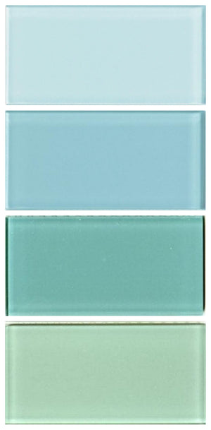 Sample Lush Glass Subway Tile | Set of Blues #1