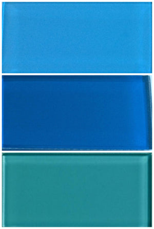 Sample Lush Glass Subway Tile | Blues Set