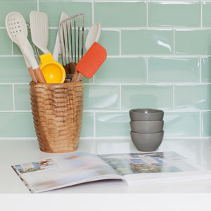 Modwalls Lush Custom Glass Subway Tile | Surf | Modern tile for backsplashes, kitchens, bathrooms, showers