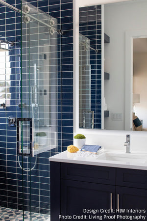 Lush Midnight Dark Blue Glass Subway Tile for Backsplash, Shower, Bathroom and Pool Second Look