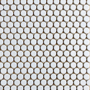 Modwalls ModDotz Porcelain Penny Round Tile | Marshmallow | Modern tile for backsplashes, kitchens, bathrooms, showers, pools, outdoor and floors