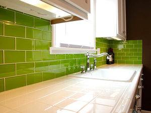 Modwalls Lush Custom Glass Subway Tile | Lemongrass | Modern tile for backsplashes, kitchens, bathrooms, showers
