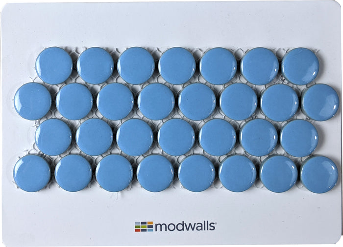 Sample Moddotz Porcelain Penny Round Tile | Retro Blue