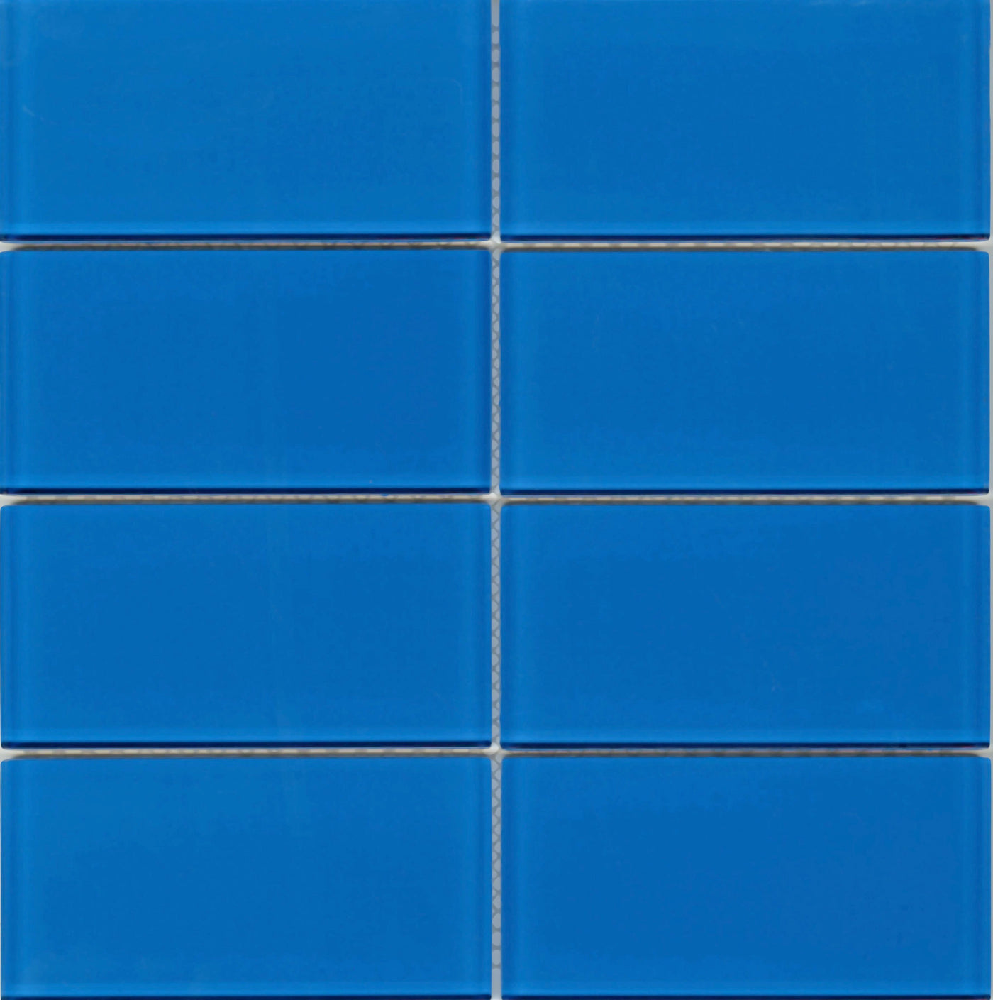 Modwalls Lush True Blue Glass Subway Tile 3x6 Tile Blue,White Kitchen Cabinets With Carrara Marble Countertops