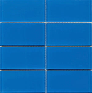 Modwalls Lush Glass Subway Tile | True Blue 3x6 | Modern tile for backsplashes, kitchens, bathrooms, showers