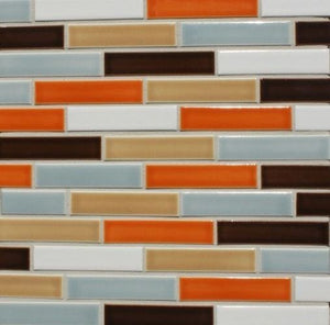 Modwalls Sample Clayhaus Ceramic Mosaic Offset 1x4 Tile