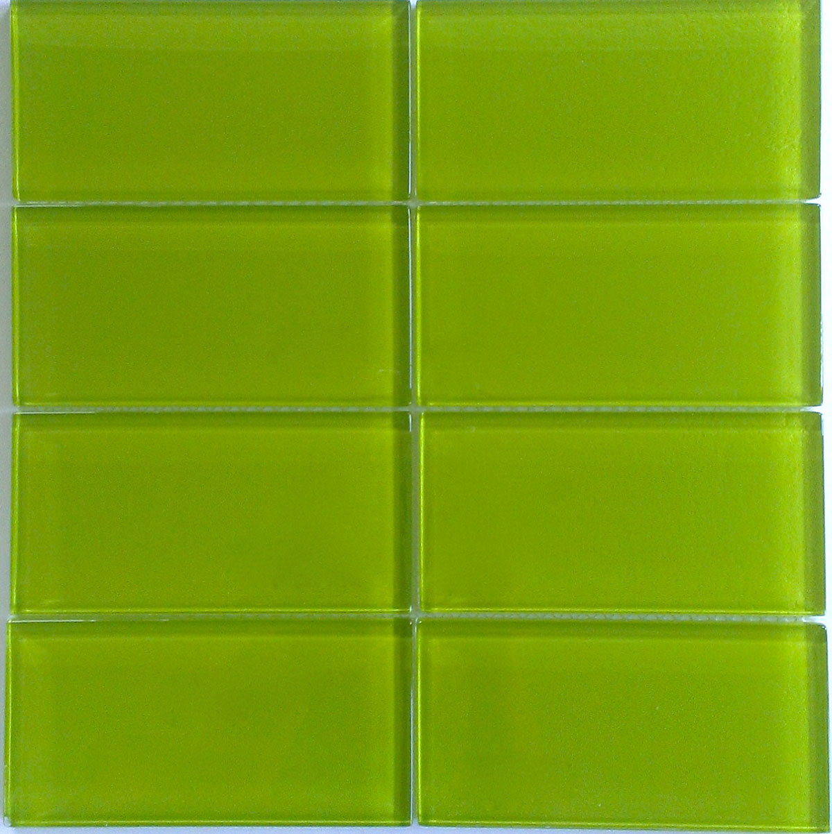 Modwalls Lush Lemongrass Glass Subway Tile 3x6 Tile Green