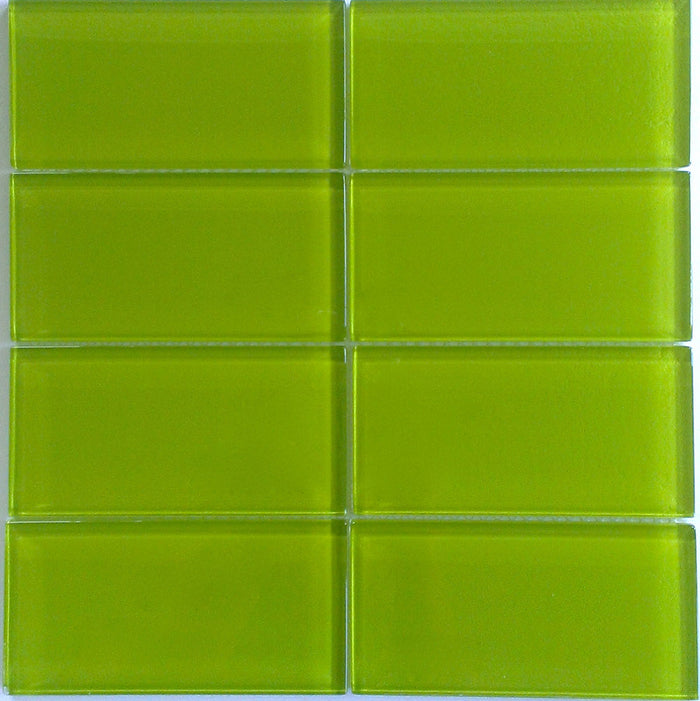 Lush Glass Subway Tile | Lemongrass | 3x6
