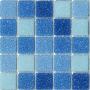 Sample of Brio Cool Pool Blend  - Glass Mosaic Tile