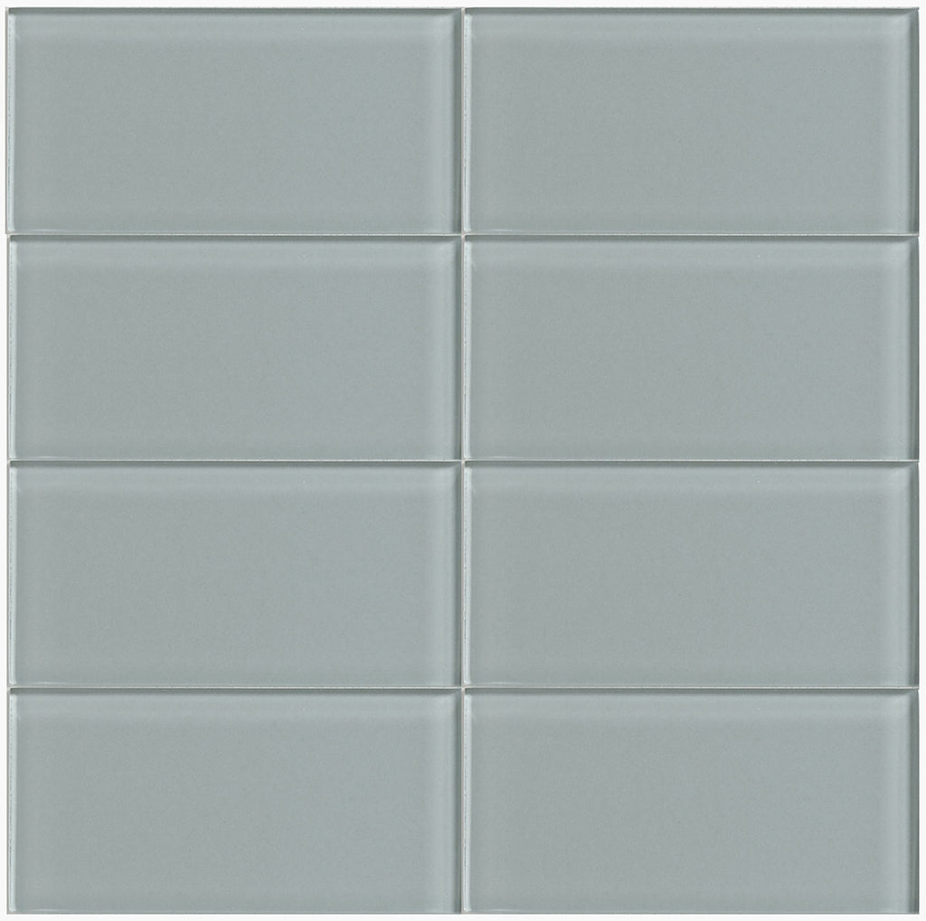 Modwalls Lush Glass Subway Tile | Fog Bank 3x6