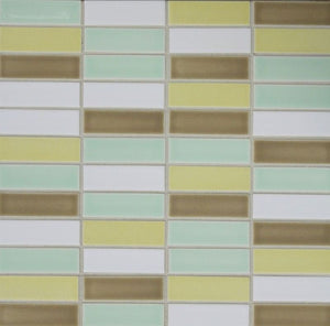 Modwalls Sample Clayhaus Ceramic Mosaic Stacked 1x3 Tile