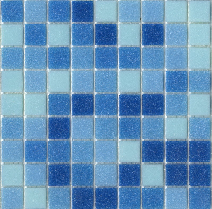 Brio Glass Mosaic Tile | Cool Pool Blend