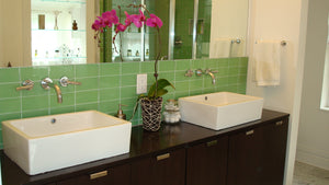 Lush Glass Subway Tile | Wasabi 3x6