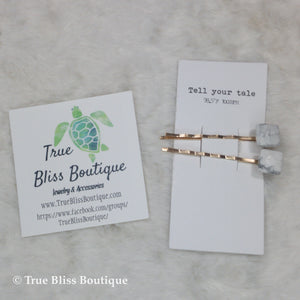 Tell Your Tale Square Stone Hair Clip White - True Bliss Boutique