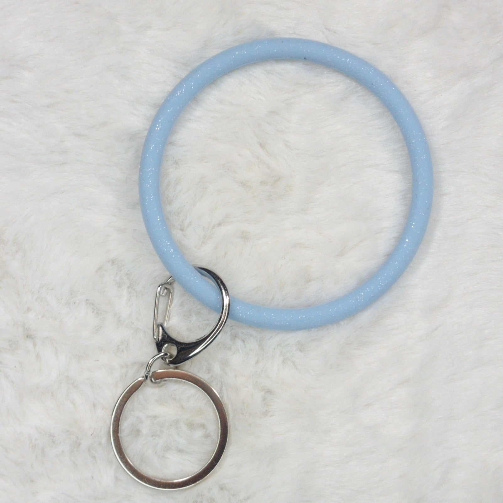 Slim Elastic Wrist Key Chain in Periwinkle Glitter - True Bliss Boutique