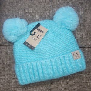 Solid color beanie for kids with faux fur double pom - Mint