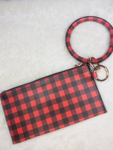 Buffalo Plaid Bracelet Key Chain Wristlet - True Bliss Boutique