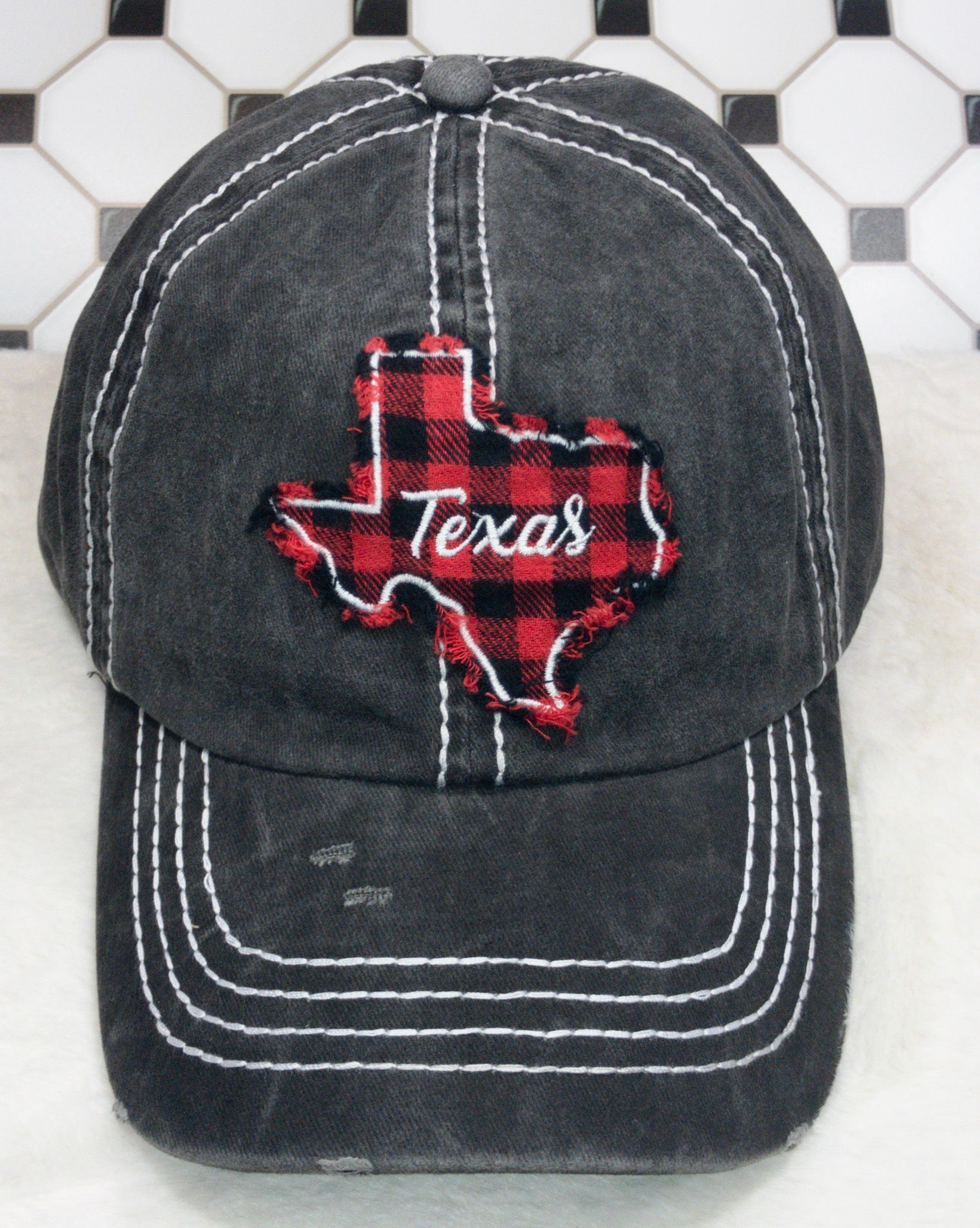 Buffalo Plaid Texas Black Wash Hat - True Bliss Boutique
