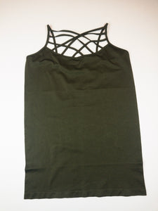 Zenana PLUS SEAMLESS TRIPLE CRISS-CROSS FRONT CAMI - Olive - 2X/3X - True Bliss Boutique