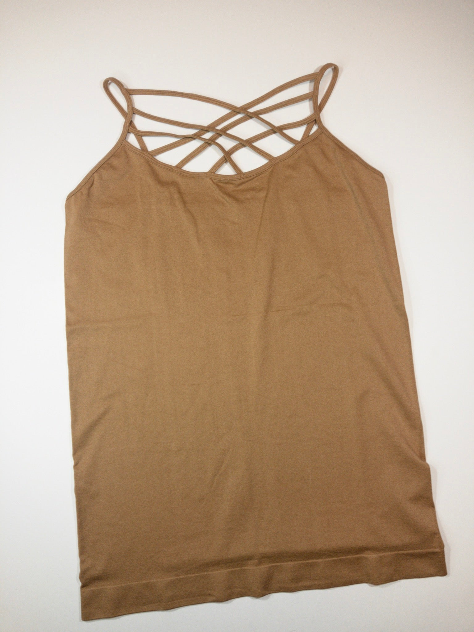 Zenana PLUS SEAMLESS TRIPLE CRISS-CROSS FRONT CAMI - Coffee - 2X/3X - True Bliss Boutique