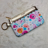 Floral Key Ring Wallet with ID Window - True Bliss Boutique