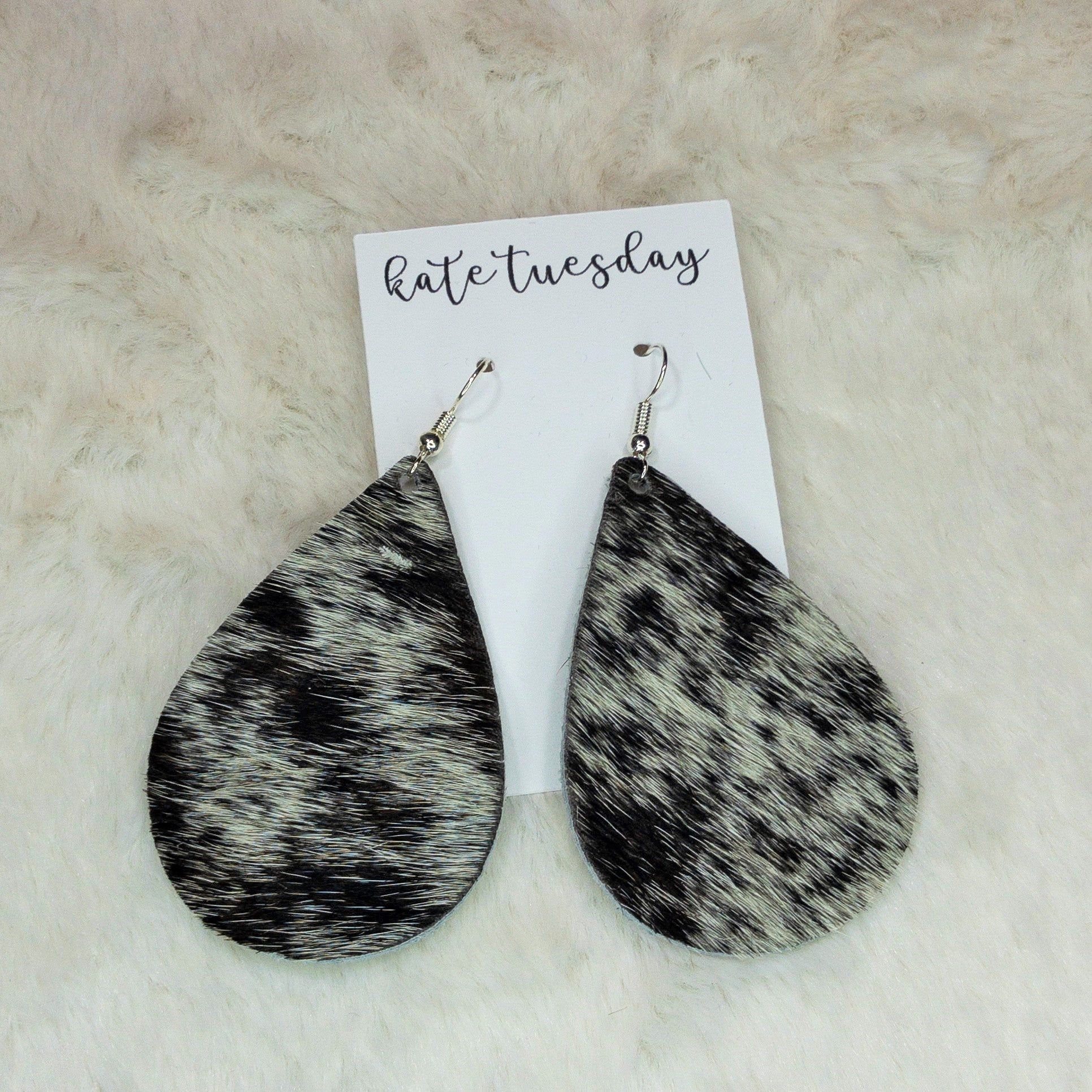 Kate Tuesday Hair On Leather Earrings - True Bliss Boutique