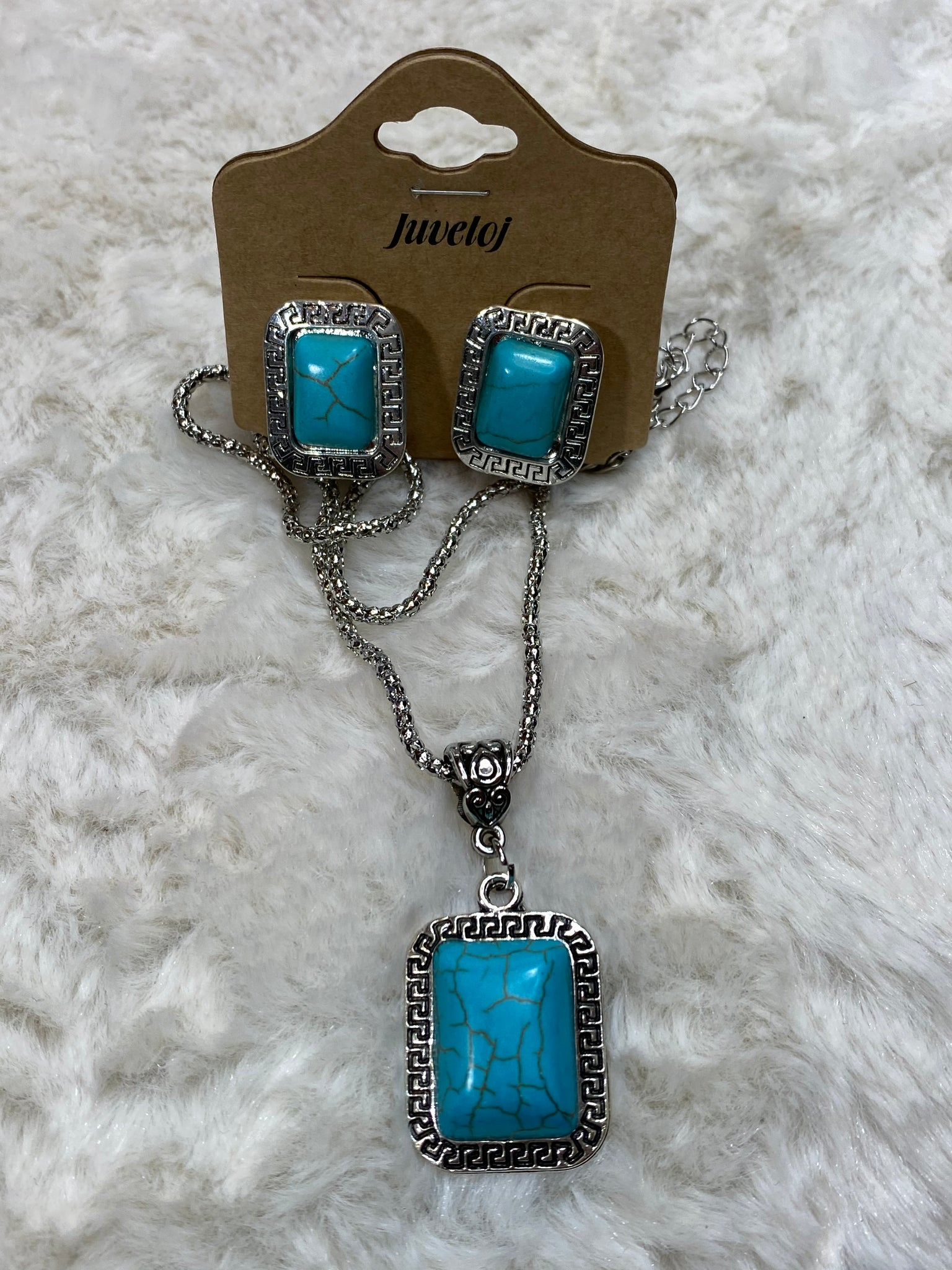 Rectangle Faux Turquoise Statement Necklace w/ Earrings - True Bliss Boutique
